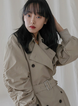 over shirring trench coat