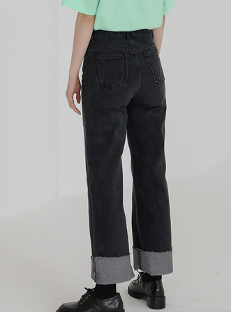mid straight denim pants