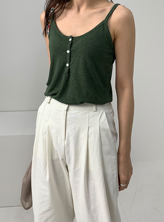 Linen Button Sleeveless (5color)