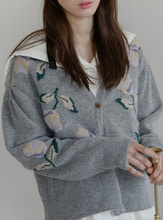 flower embroidery cardigan@